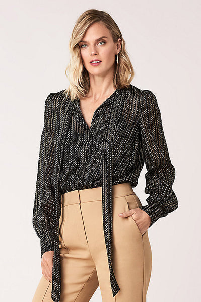 Lanie Silk Metallic Necktie Blouse - Black / Gold