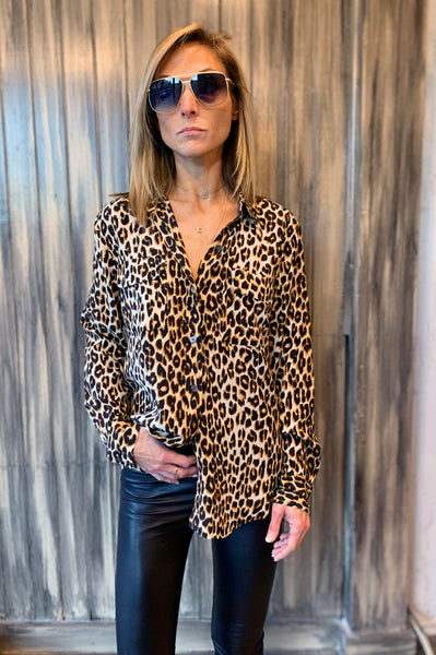 Slim Signature Silk Shirt - Natural Leopard