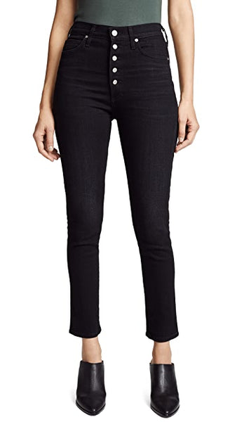 Olivia Exposed Fly High Rise Skinny Ankle - Licorice
