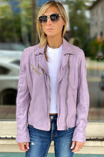 Sofia Leather Jacket - Lilac