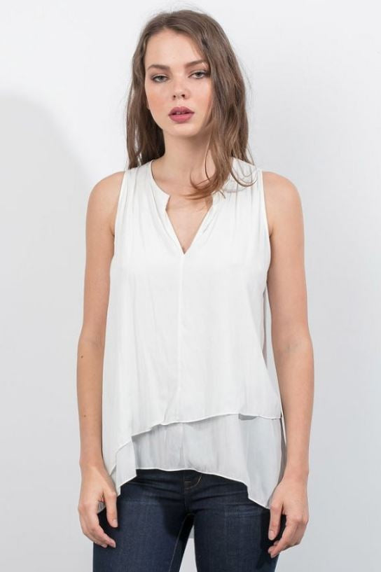 Distressed Satin Top - Eggshell
