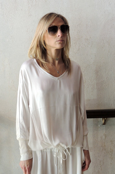 V Neck Long Sleeve - White