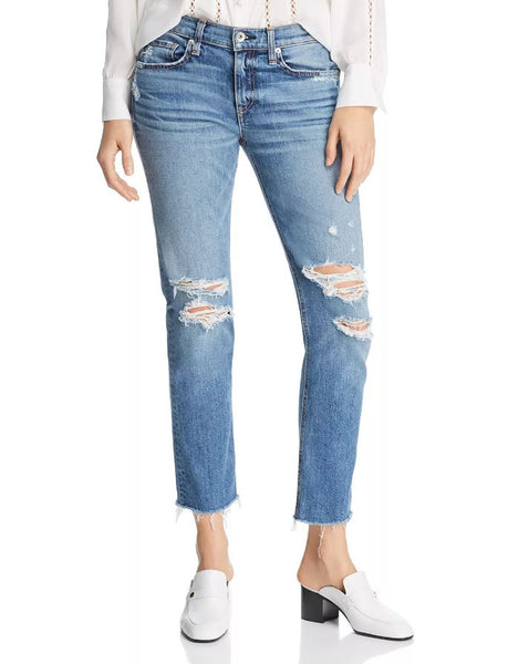 Dre Boyfriend Ankle Slim Low Rise - Marie w/ Holes