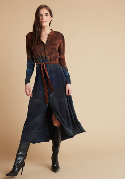 Maxi Shirt Dress - Autumn Sky