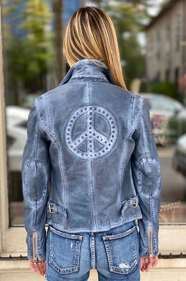 Maysie Peace Leather Jacket - Sky