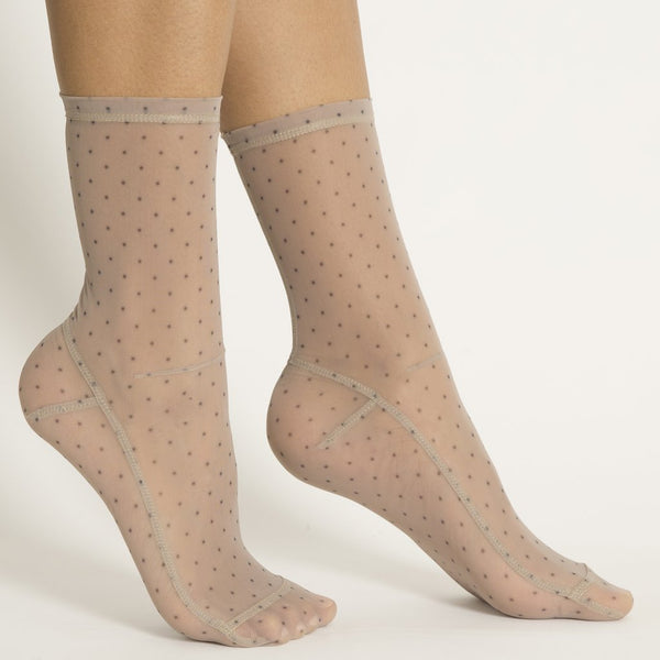 Mini Dots Mesh Socks - Black