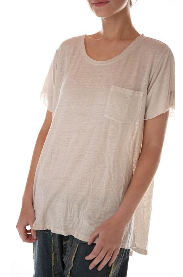 Cotton Linen Roll Cuff Pocket Tee - Moonlight
