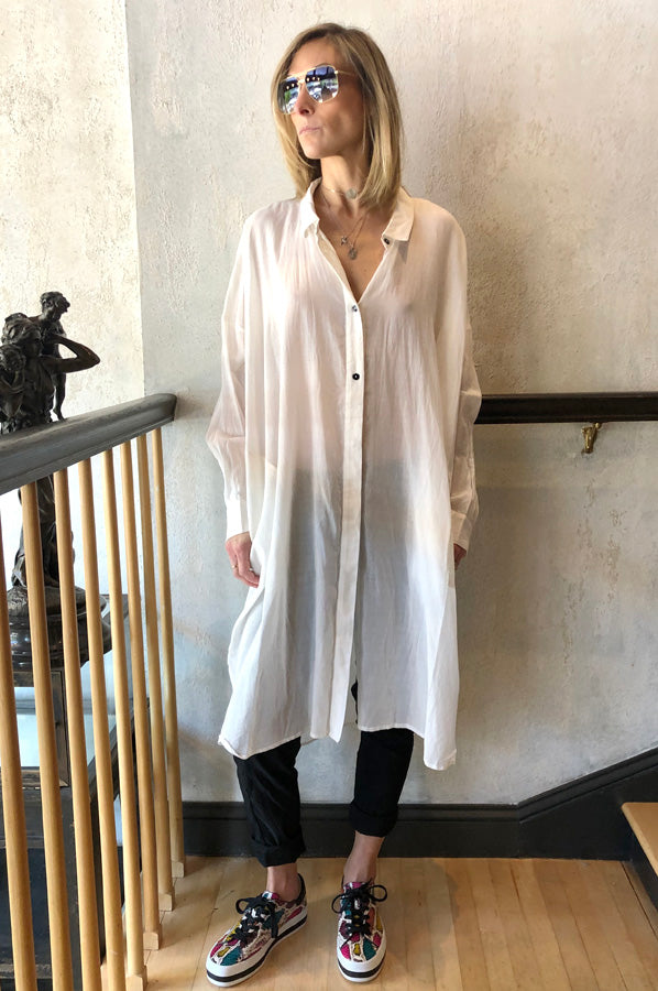 Long Button Blouse - White