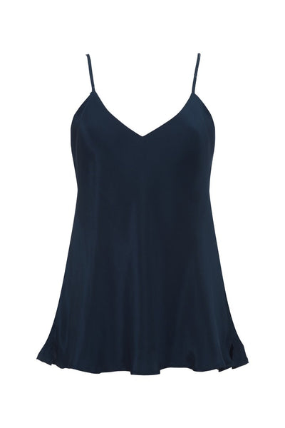 Double Solid Silk Cami - Navy