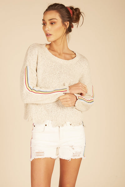 Rainbow Trim Ripped Sweater - Oat