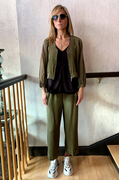 Crop Wide Leg Pants - Olive Green