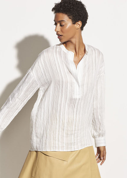 Drape Striped Pullover Blouse - Optic White