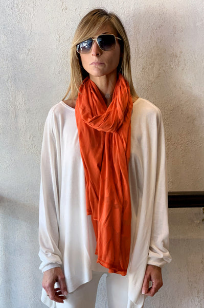 Sheer Print Scarf - Orange
