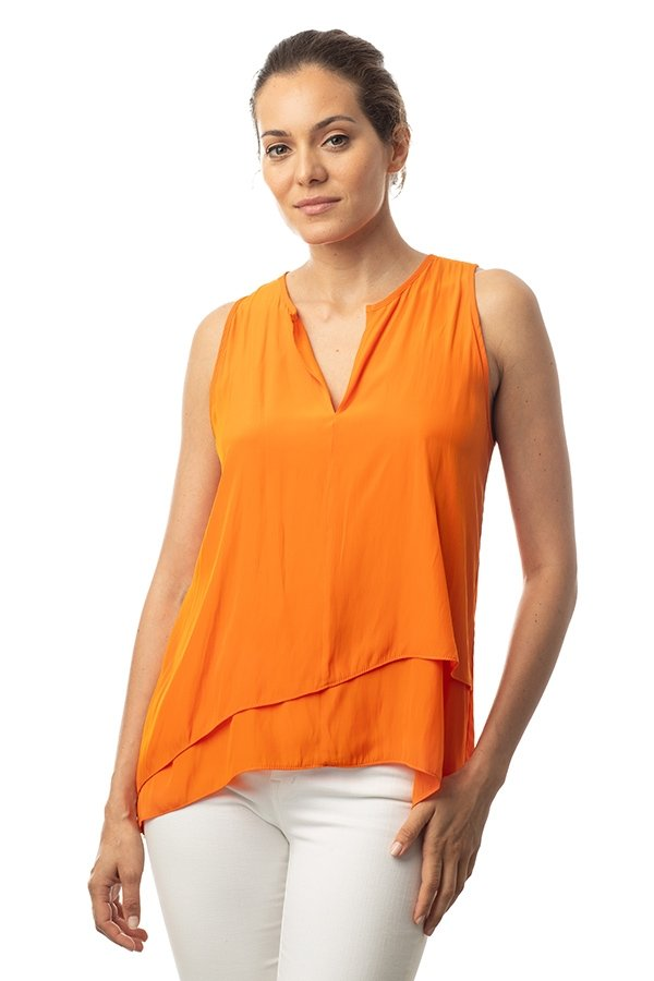 Distressed Satin Top - Orange