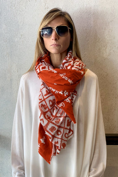 Pattern Scarf - Orange Print