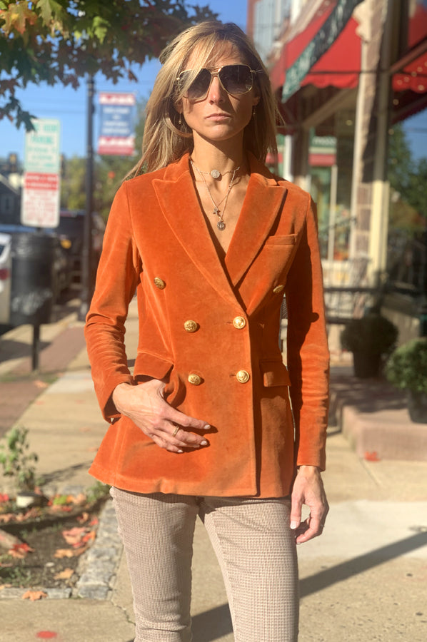 Velvet Double Breasted Blazer - Orange