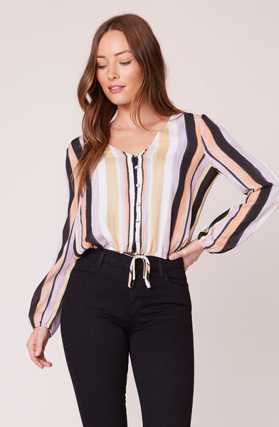 Paint The Town Button Front Top - Ivory