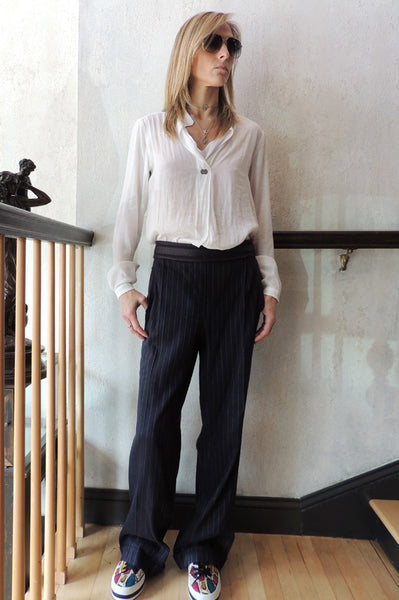 Pinstripe Pants - Navy
