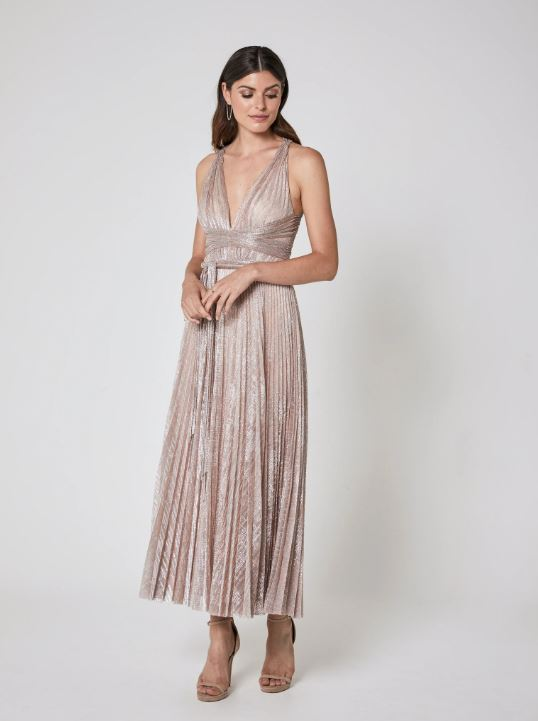 Peace Dress - Pale Pink Metallic