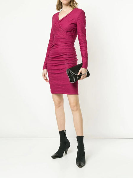 Gathered Short Dress - Mulberry