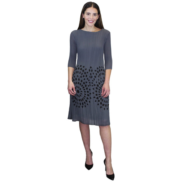 3/4 Sleeve Pleated Dress - Grey