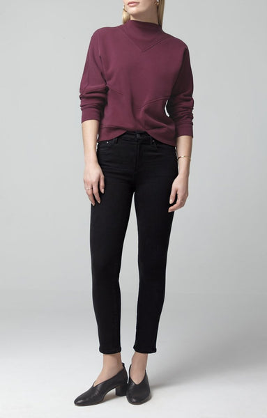 Rocket Crop Mid Rise Skinny - Plush Black