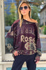 Pullover Top - Burgundy Multi