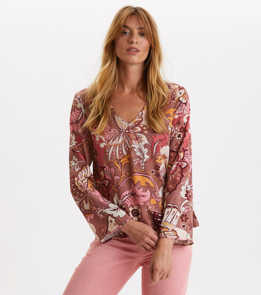 Puzzle Me Together Blouse - Red Taupe