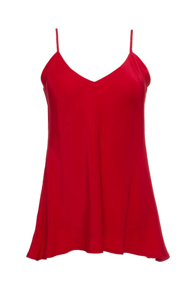 Double Solid Silk Cami - Red