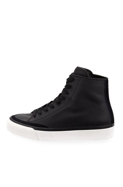 RB Leather High Top Sneakers - Black
