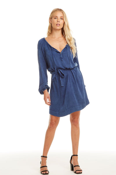 Heirloom Wovens L/S Raglan Hi Lo Shirttail Dress - Sailboat Cloud Wash
