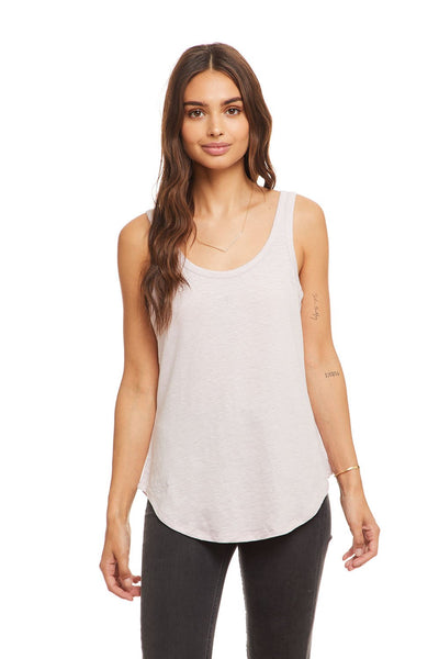Scoop Neck Linen Jersey Tank - Satin Linen