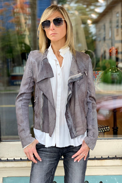 Ria Scale Leather Jacket - Chocolate Blue