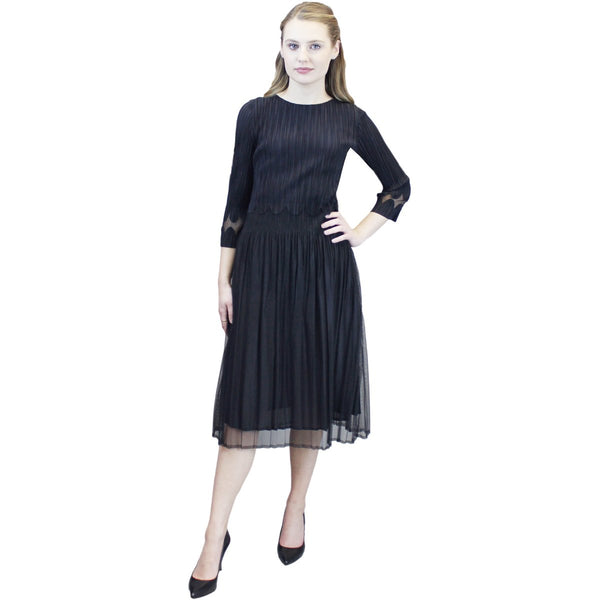 3/4 Sleeve Scallop Illusion Dress - Black