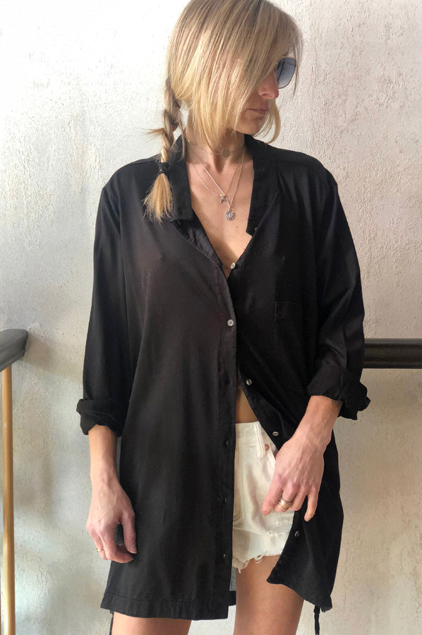 Long Sleeve Sheer Button Up Shirt - Black