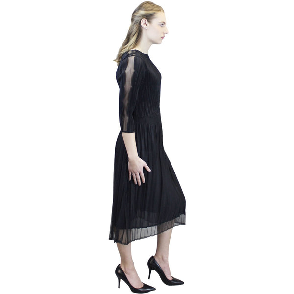 3/4 Sleeve Sheer Scallop Sleeve Dress - Black