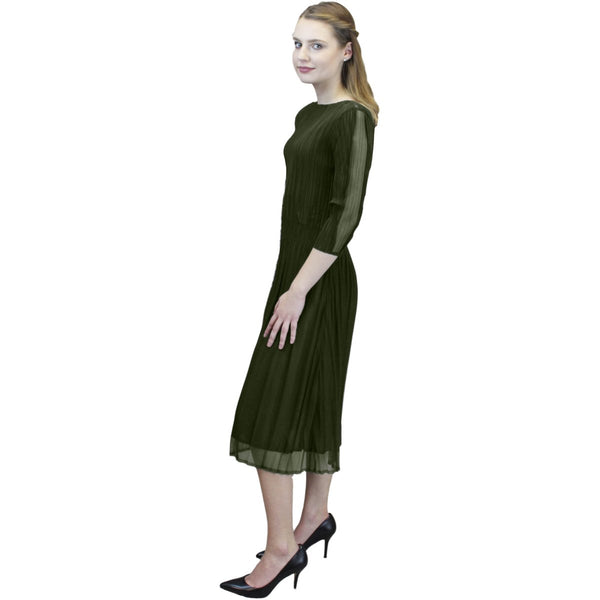 3/4 Sleeve Sheer Scallop Sleeve Dress - Olive