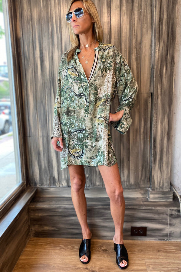 India Long Shirt Dress - Jungle