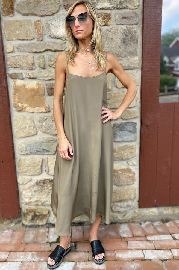 Long Silk Dress - Taupe