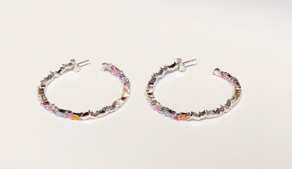Silver Hoop w/ Multi Color Emerald Cut Stones