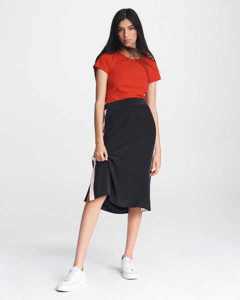 Luca Silk Midi Skirt - Black