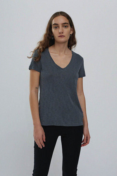 Supima Slub Jersey V Neck T Shirt - Charcoal