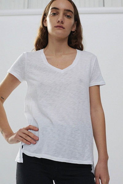 Supima Slub Jersey V Neck T Shirt - White