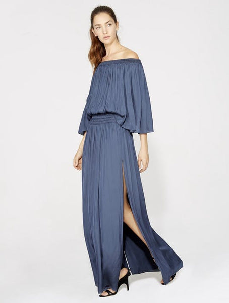 Off Shoulder Flowy Gown - Navy