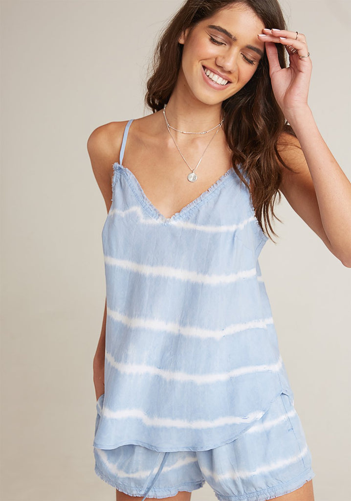 Frayed Edge Camisole - Steel Blue Tie Dye