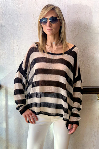 Knitted Tunic - Black Stripe