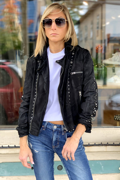 Stud Muffin Vegan Leather Moto Jacket - Black