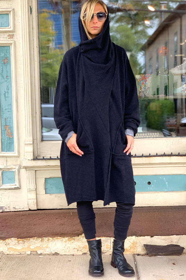 3-in-1 Sweater Coat - Black