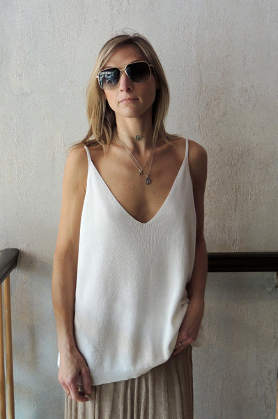 V Neck Knit Tank - White