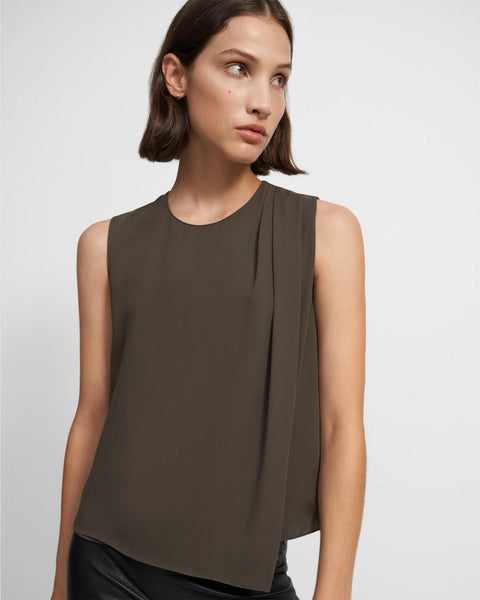 Draped Shoulder Silk Georgette Top - Teak
